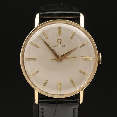 1958 Omega Ref. J-6585 18K Yellow Gold Stem Wind Wristwatch