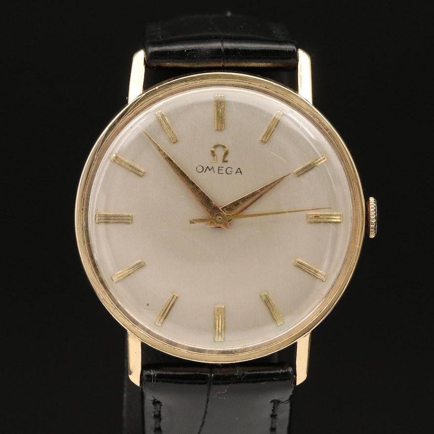 1958 Omega Ref. J-6585 18K Yellow Gold Stem Wind Wristwatch