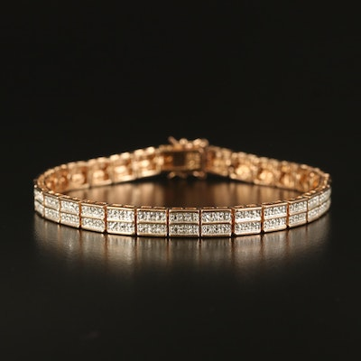 Sterling Double Row Bracelet with Diamond Accent