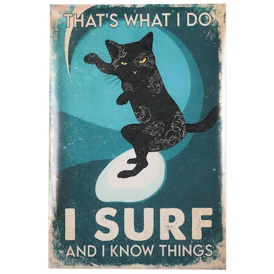 Giclée of a Black Cat Surfing, 21st Century