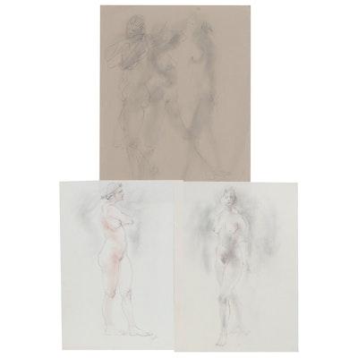 John Tuska Figural Nude Graphite and Pastel Drawings, Late 20th Century