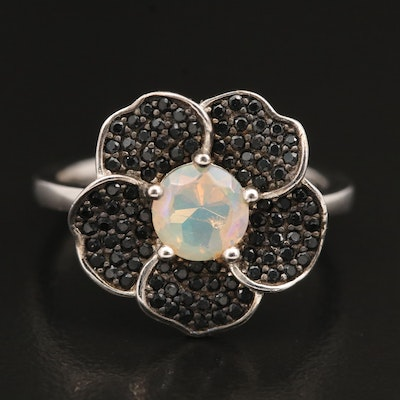 Sterling Opal and Spinel Flower Ring
