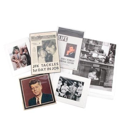 John F. Kennedy Memorabilia Including Newspaper, Life Magazine, Album, and More