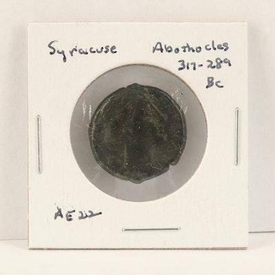 Ancient Syracuse AE22 Bronze Coin of Agathokles, ca. 317 BC