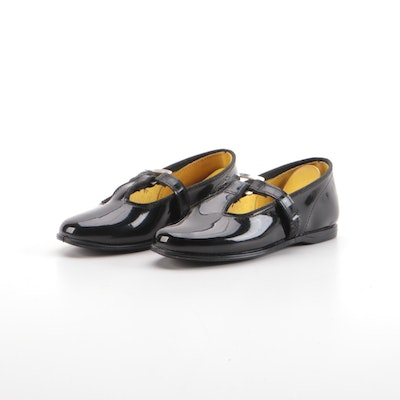 Children's School Chums Black Faux Patent Leather T-Strap Shoes with Box