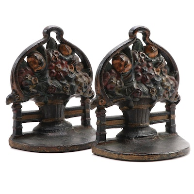 Cold-Painted Cast Iron Flower Basket Bookends, Early 20th C.