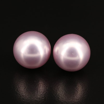 14K Imitation Pearl Stud Earrings