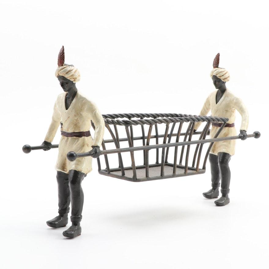 Orientalist Cast Iron Centerpiece Basket Holder