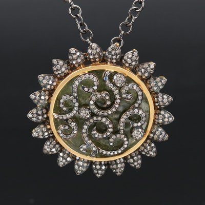 Sterling and 800 Silver 6.15 CTW Diamond and Hydrogrossular Garnet Necklace