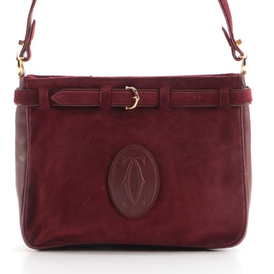Cartier Must de Cartier Shoulder Bag in Burgundy Suede and Leather