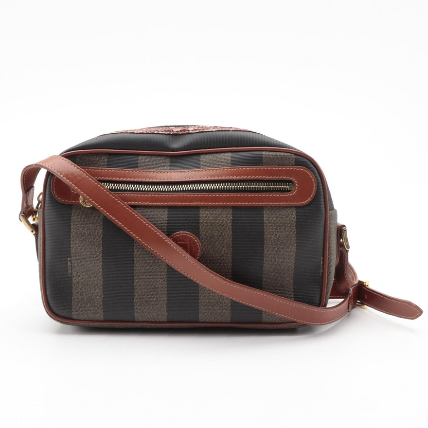 Fendi Front Zip Crossbody Bag in Striped Pequin Canvas and Leather