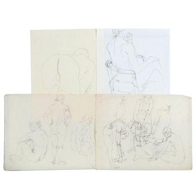 John Tuska Figural Graphite Drawings, Mid-Late 20th Century