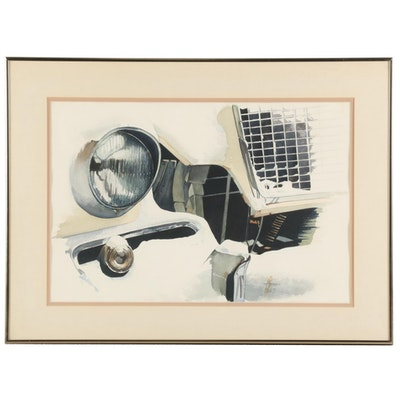 Watercolor Painting of Car Details, 1983