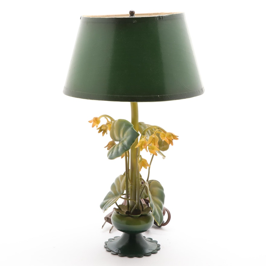 Italian Style Tole Painted Floral Boudoir Lamp
