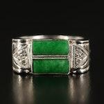 18K Jadeite and Diamond Bar Ring