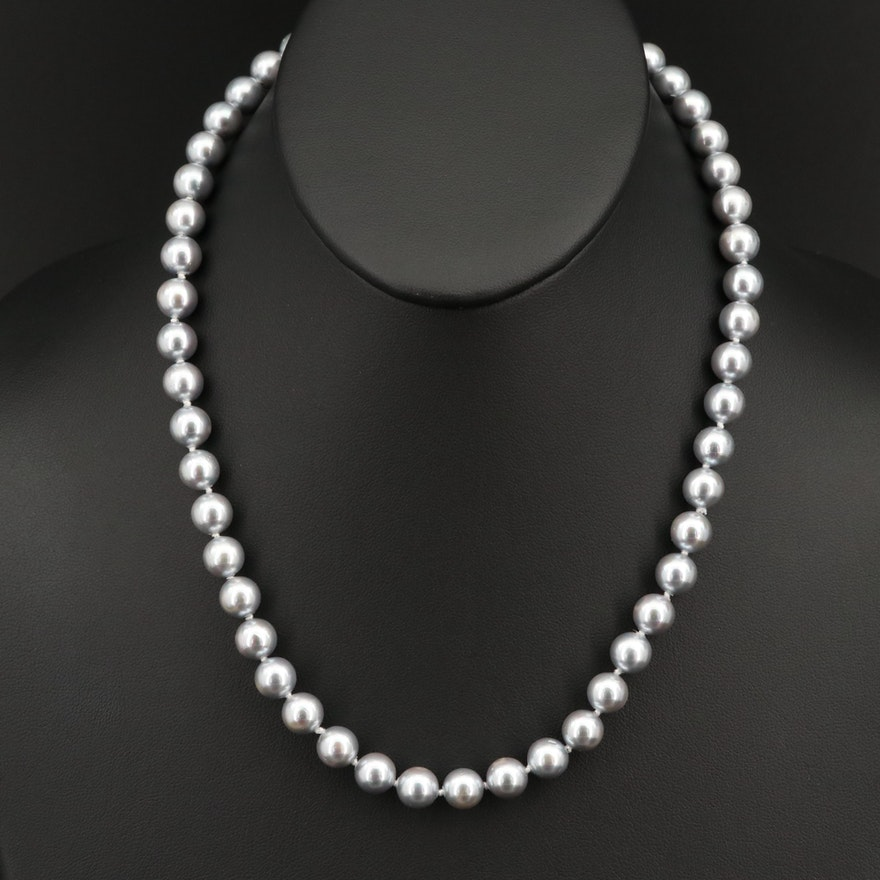 Faux Pearl Necklace with 14K Clasp