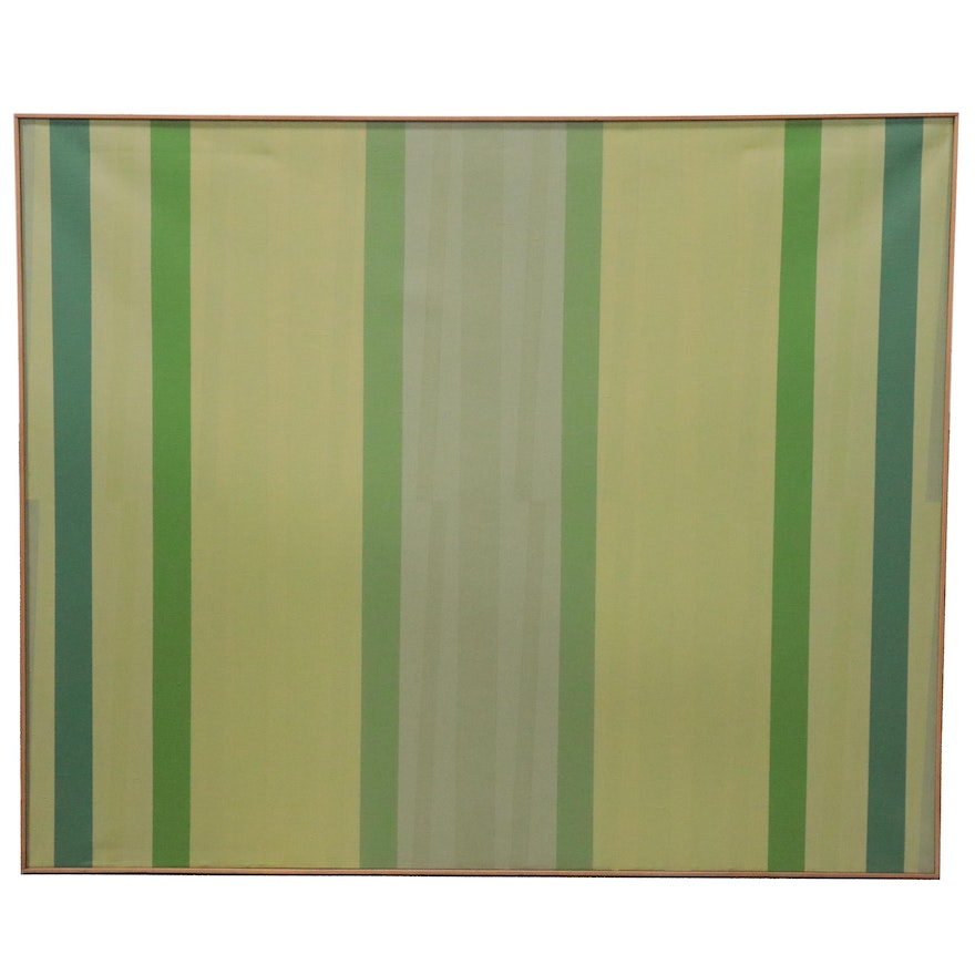 """Walter Stomps Large-Scale Abstract Acrylic Painting """"Early Green,"""" 1972"""
