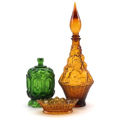 Italian Style Glass Chianti Bottle with Candy Dish and Compote