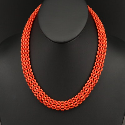 Coral Round and Elongated Bead Necklace with 14K Clasp