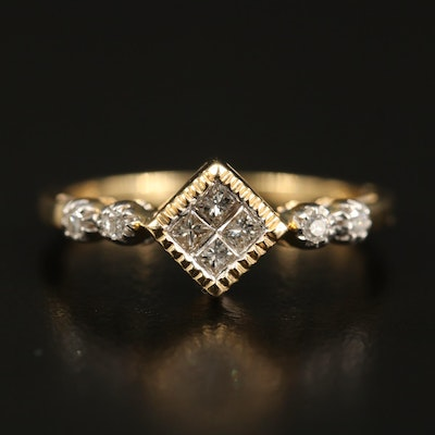 14K Diamond Ring with Milgrain Edging