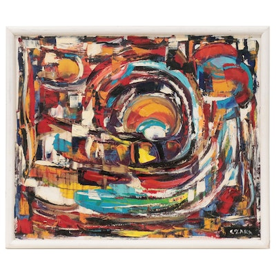 Catherine Zakas Abstract Oil Painting, Late 20th Century