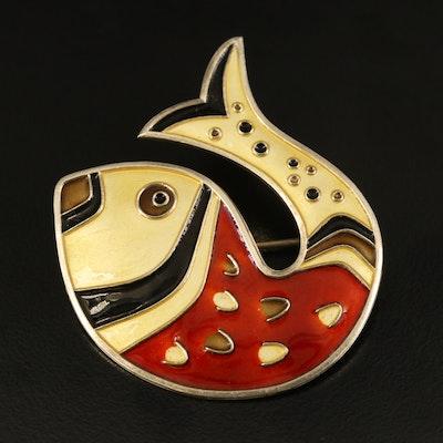 Vintage Scandavian David Andersen Sterling Enamel Fish Brooch