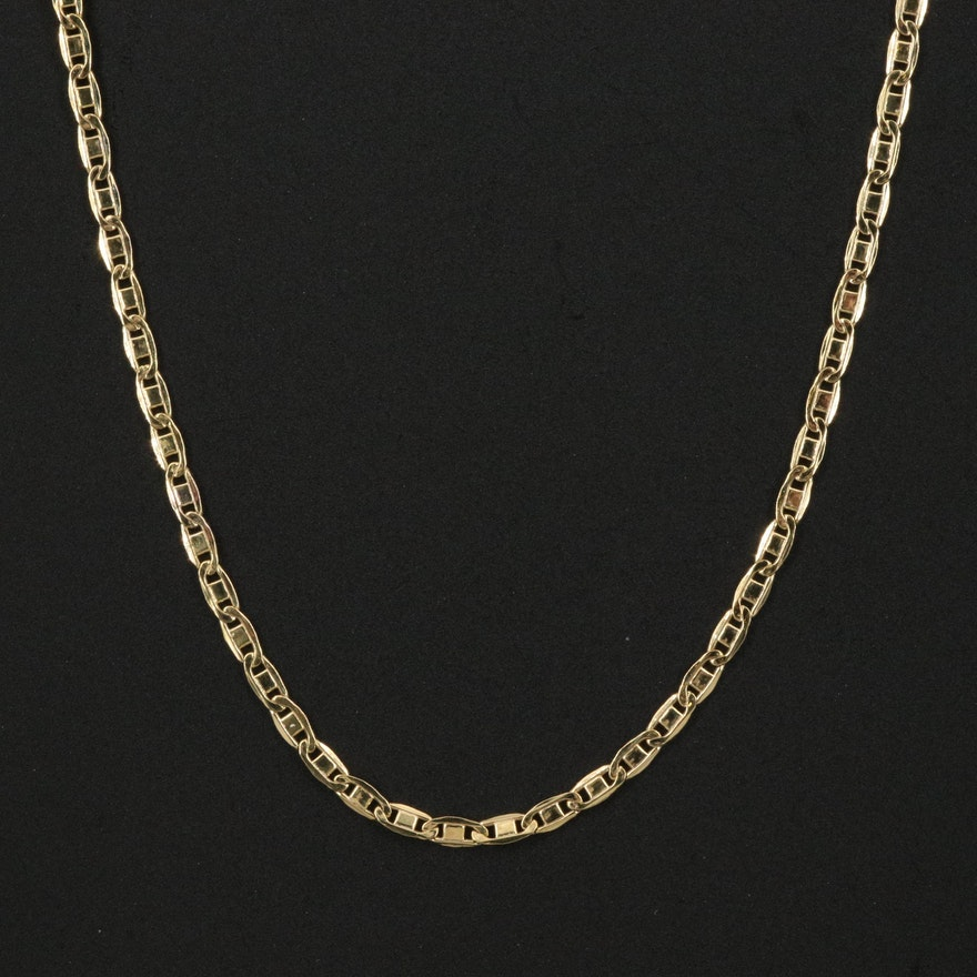 10K Anchor Chain Necklace