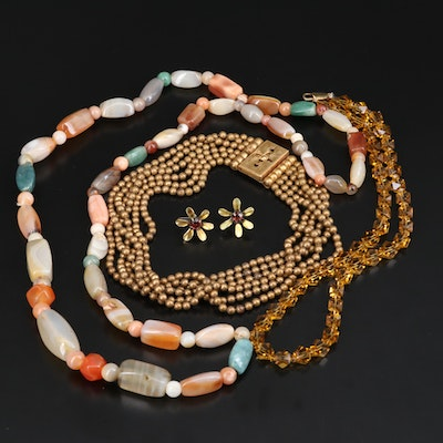 Vintage Jewelry Including Endless Agate Bead Necklace, Rhinestones and Glass