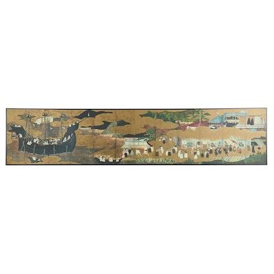 "Giclée after Edo Nanban Screen ""Arrival of a Portuguese Ship"""