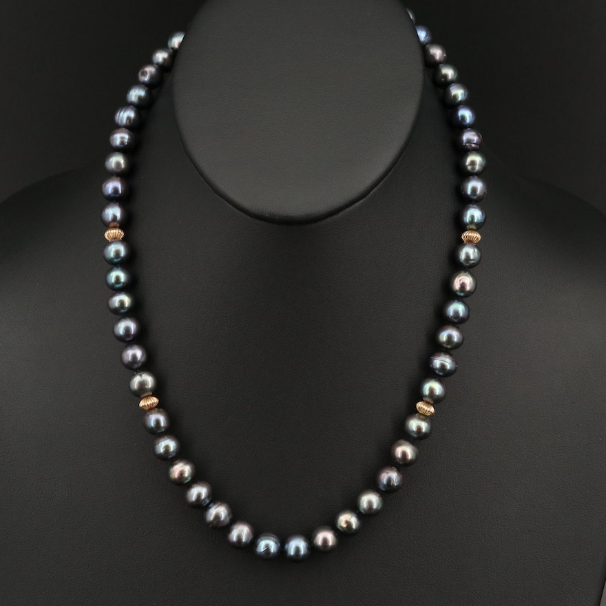 14K Pearl Fluted Bead Necklace