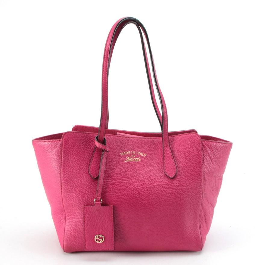 Gucci Small Swing Tote in Dark Pink Pebble Grain Leather