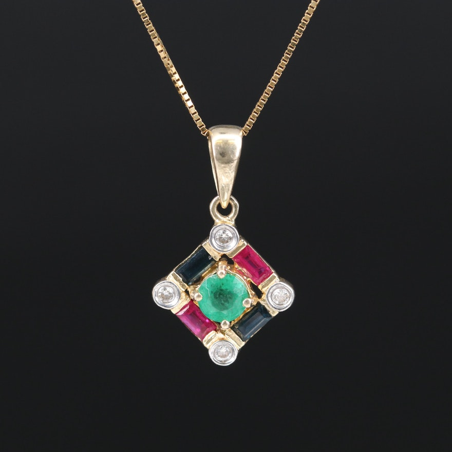 14K Emerald, Ruby, Sapphire and Diamond Necklace