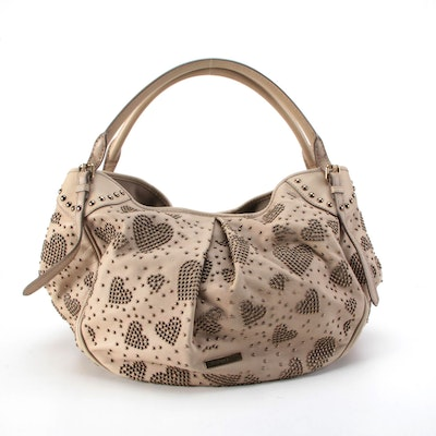 Burberry Studded Heart Hobo Bag in Beige Leather