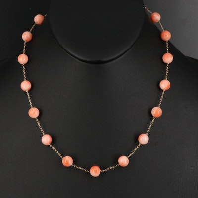 10K Round Coral Bead Station Necklace