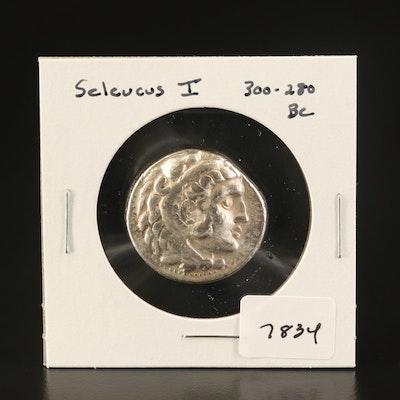 Ancient Seleucid Kingdom AR Tetradrachm Coin of Seleucus I, ca. 300 BC