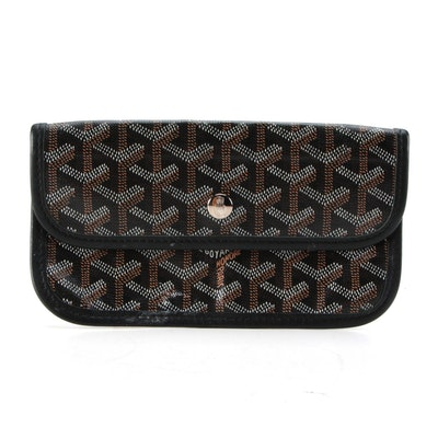Goyard St. Louis Pouch in Chevron Print Coated Canvas with Leather Trim