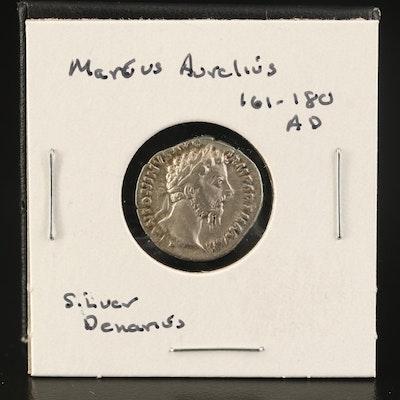 Ancient Roman Imperial AR Denarius of Marcus Aurelius, ca. 161 AD