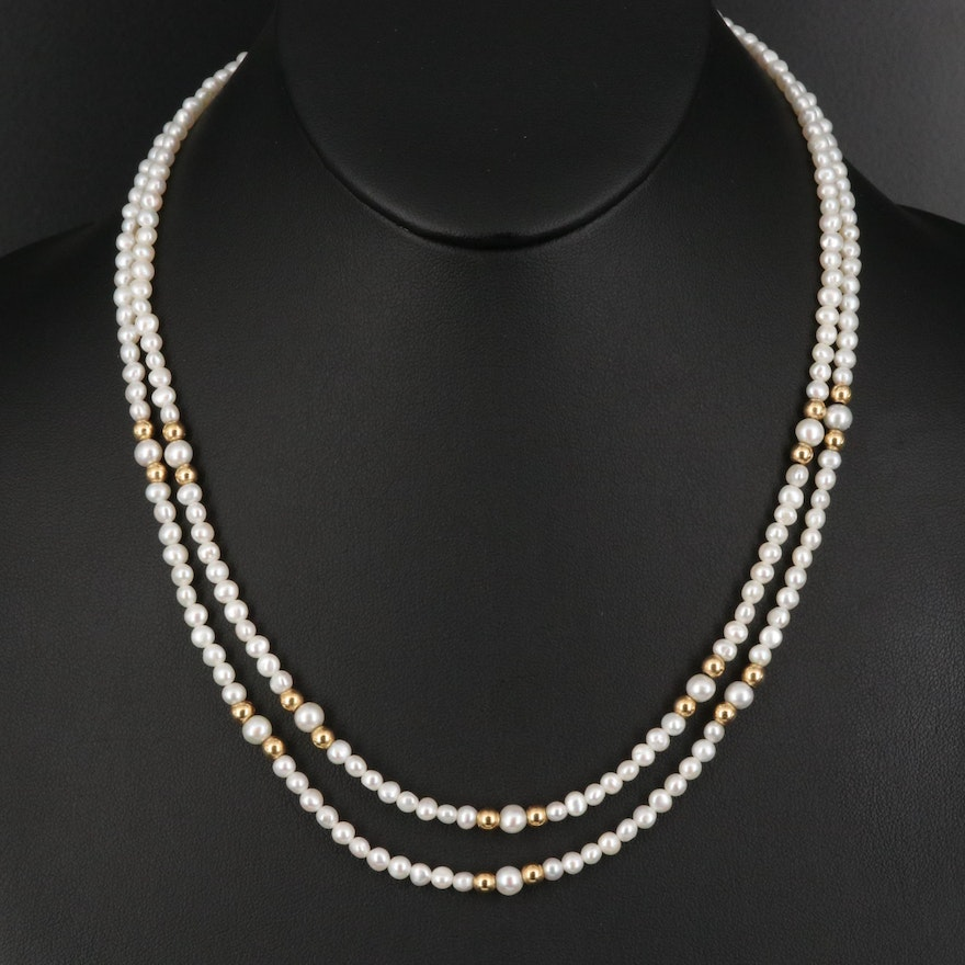 14K Pearl Double Strand Necklace