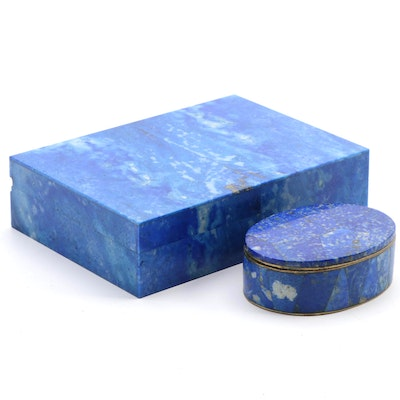 Italian Polished Denim Lapis Keepsake Box with Oval Denim Lapis Trinket Box
