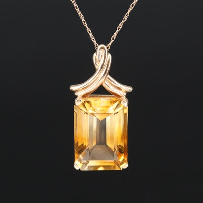 14K Citrine Solitaire Pendant Necklace