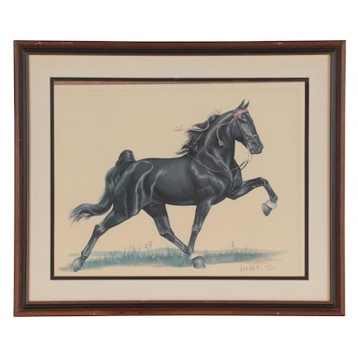 Robert Christie Offset Lithograph of Black Horse, Mid-Late 20th Century
