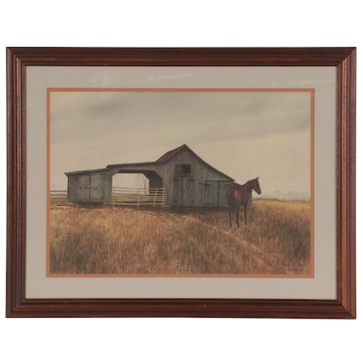 Harold Collins Offset Lithograph of Stable with Horse, Mid-Late 20th Century