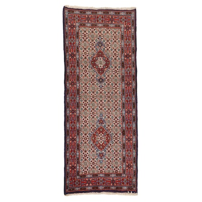 2'7 x 6'5 Hand-Knotted Persian Moud Khorasan Carpet Runner, 1980s