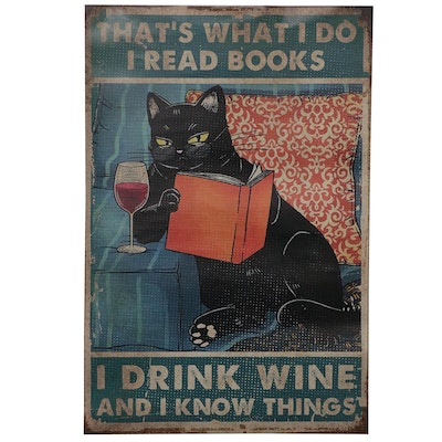 Giclée of Black Cat Reading and Drinking Wine, 21st Century