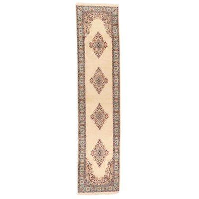 2'7 x 11'5 Hand-Knotted Indo-Persian Kerman Carpet Runner, 2000s