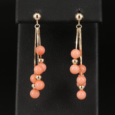 14K Coral Waterfall Earrings