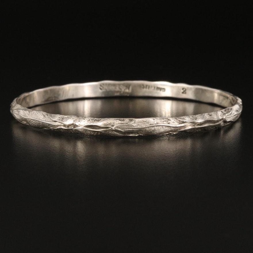 Vintage S. Kirk & Son. Sterling Silver Foliate Bangle