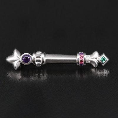 Platinum Amethyst, Diamond, Tourmaline and Emerald Scepter Brooch