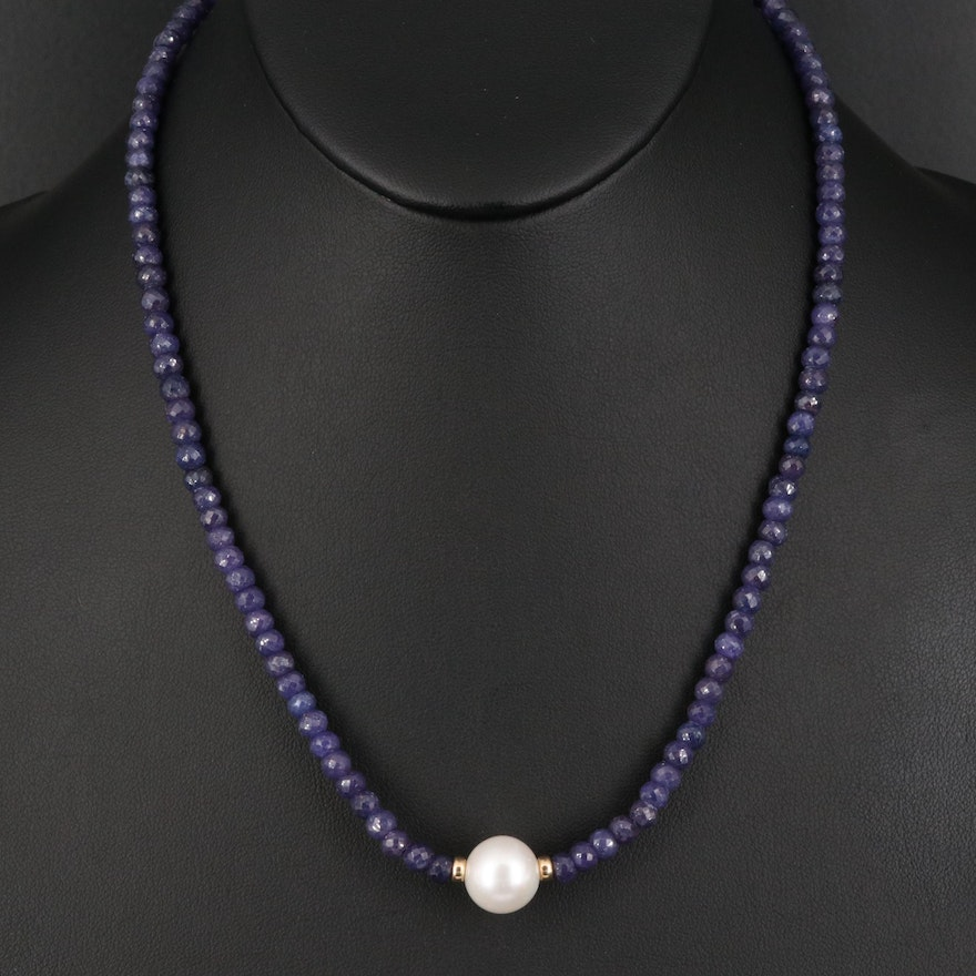 14K Sapphire and Pearl Necklace