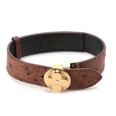 Louis Vuitton Ostrich Skin Leather Millennium Wish Bracelet with Box